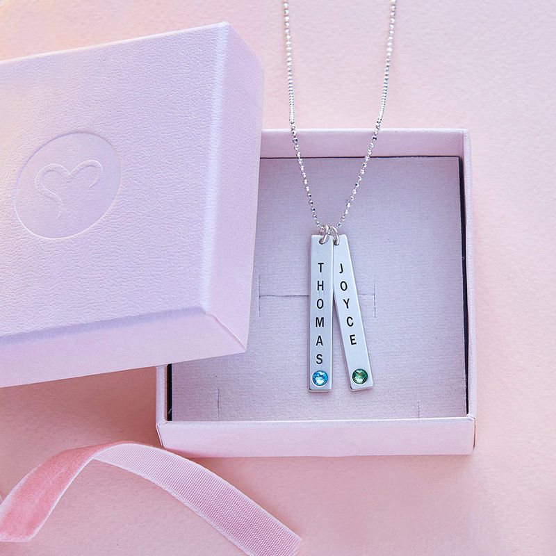 Vertical Sterling Silver Bar Necklace with Birthstone Crystal - 6