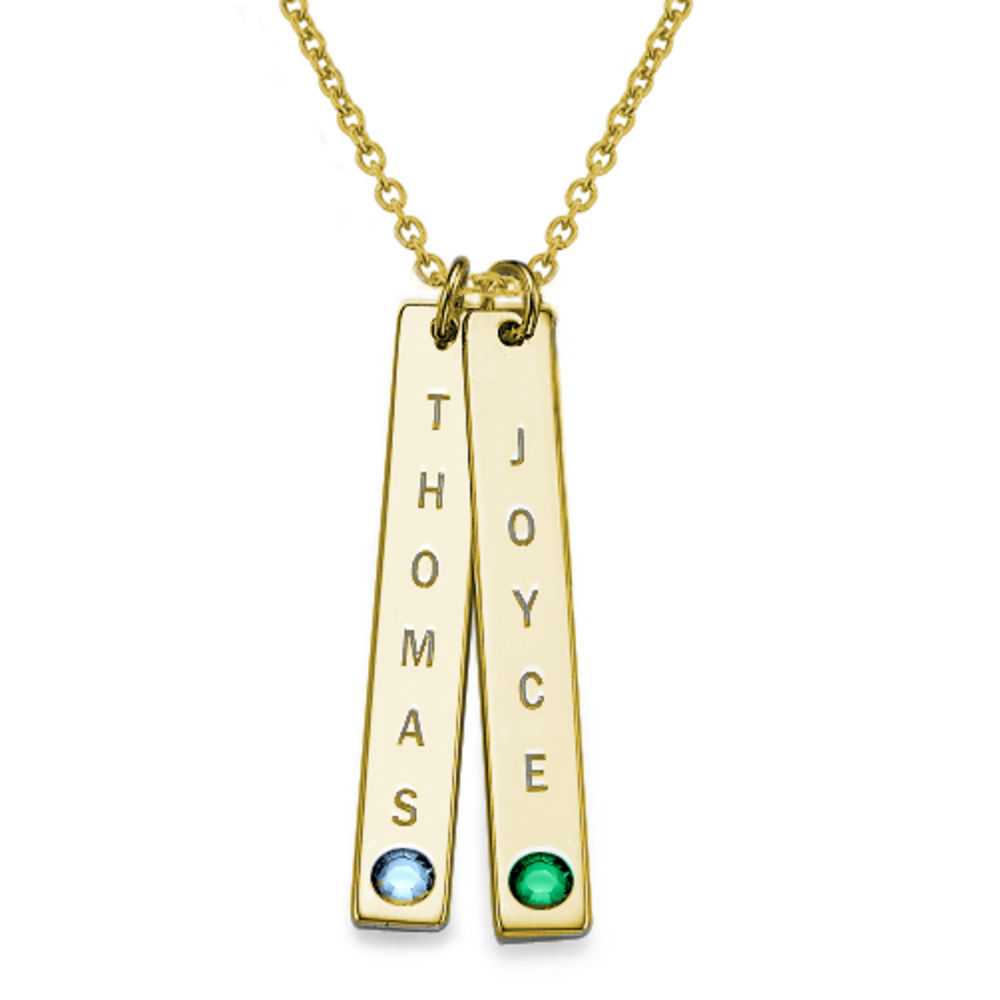 Birthstone Vertical Bar Necklace For Mothers