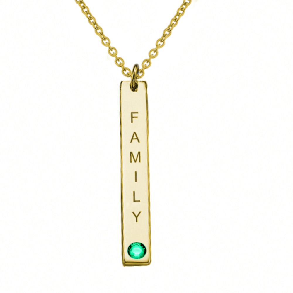 18ct Gold Plated Vertical Bar Necklace with Swarovski Stone - 1