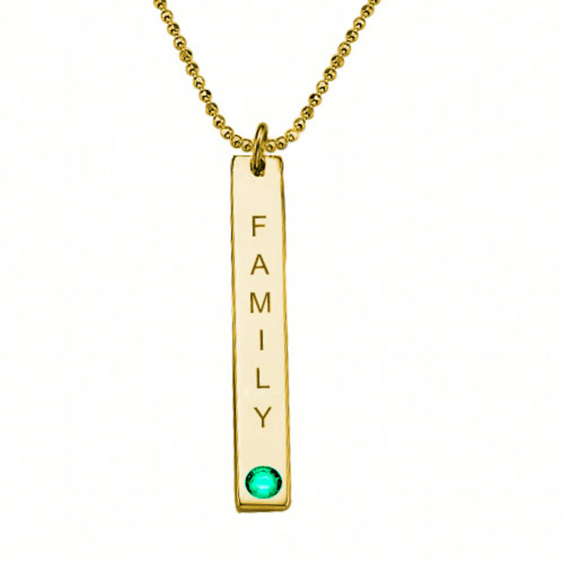 18ct Gold Plated Vertical Bar Necklace with Swarovski Stone - 2
