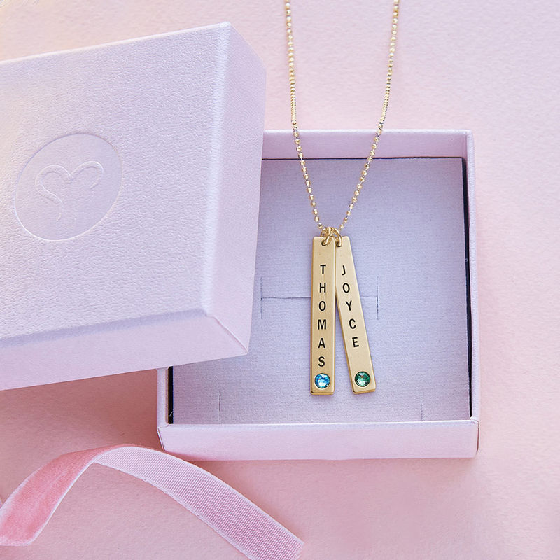 18ct Gold Plated Vertical Bar Necklace with Swarovski Stone - 6