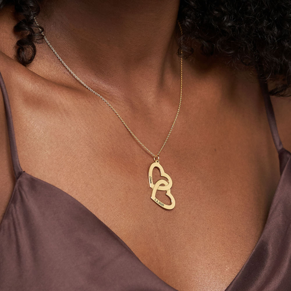 Personalised Gold Plated Heart in Heart Necklace - 3
