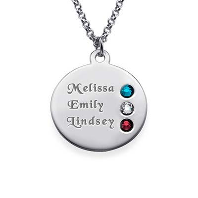 Silver Birthstone Necklace for Mum