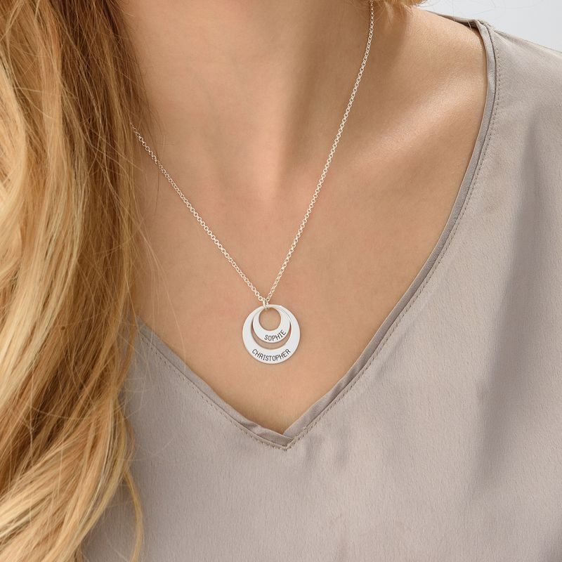 Silver Two Disc Engraved Mother's Necklace - 5