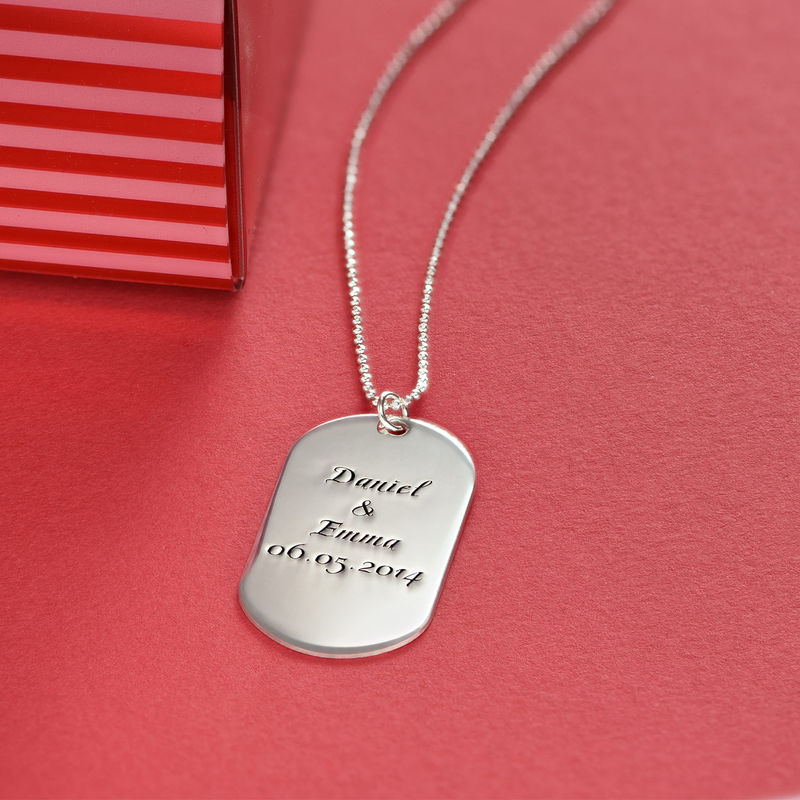 Custom Script Dog Tag Necklace in Sterling Silver - 1 - 2 - 3