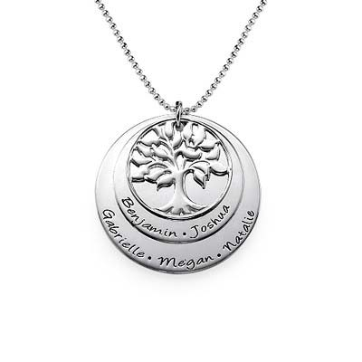 Sterling Silver Layered Family Tree Necklace