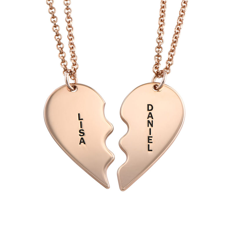Broken Heart Necklace for Couples in Rose Gold Plated