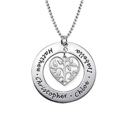 Sterling Silver Heart Family Tree Necklace
