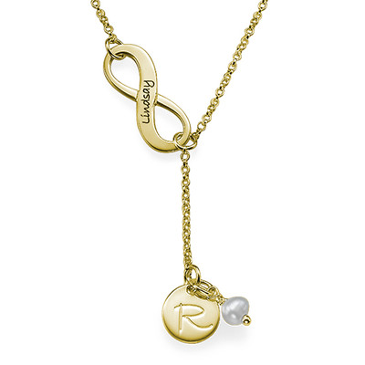 Gold Plated Infinity Y Shaped Birthstone Necklace