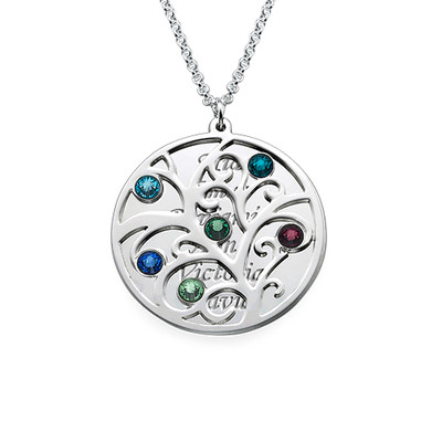Family Tree Necklace - Filigree Birthstone - 1