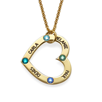 18ct Gold Plated Birthstone Heart Necklace