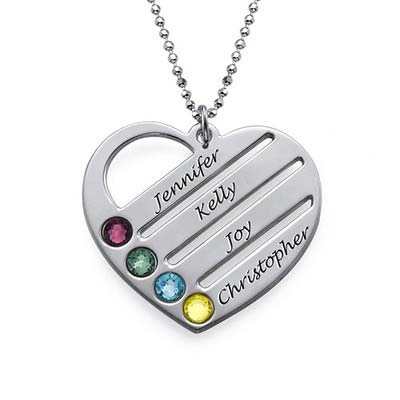 Birthstone Heart Pendant with Engraved Names