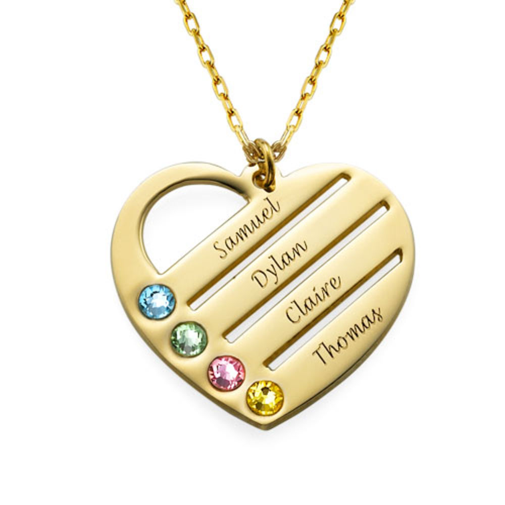 Birthstone Heart Necklace with Engraved Names in 10ct Gold
