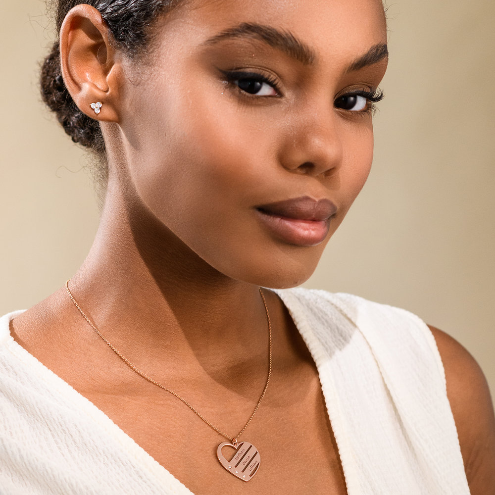 Heart Necklace with Engraved Names with Diamond in Rose Gold Plating - 1 - 2