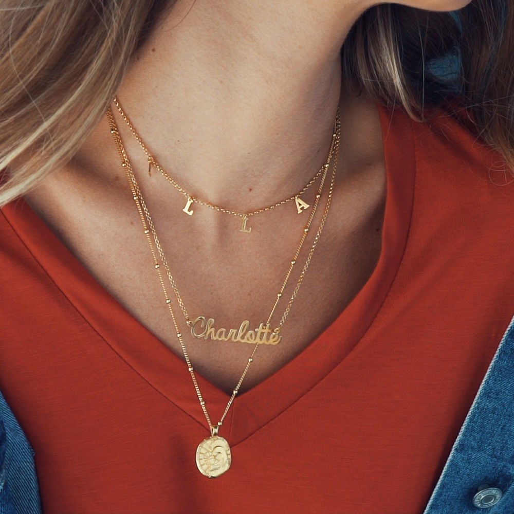 Personalised Jewellery - Cursive Name Necklace in Vermeil - 1