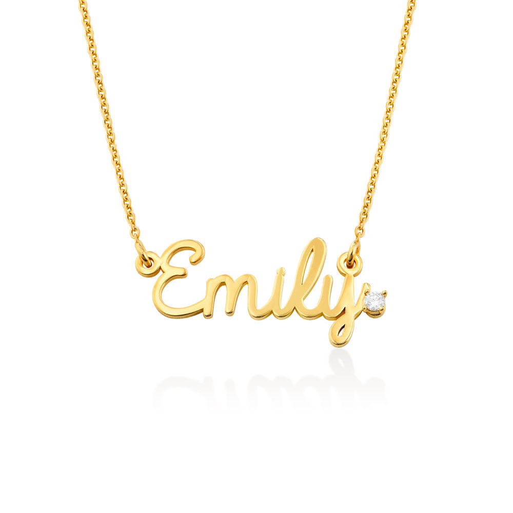 Cursive Name Necklace in Gold Vermeil with Diamond