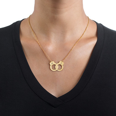 Handcuff Initial Necklace in 18ct Gold Plating - 1