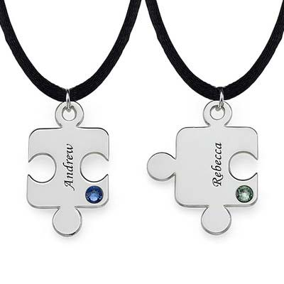 Engraved Puzzle Necklace for Couples with Birthstone