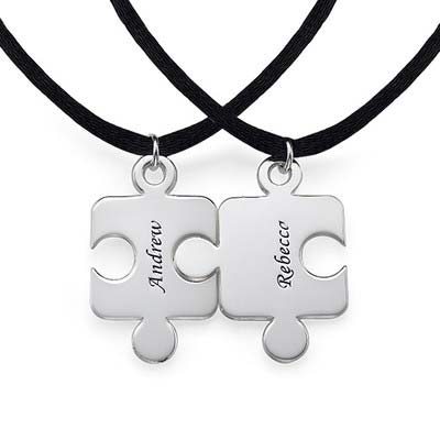 Engraved Puzzle Necklace for Couples with Birthstone - 1