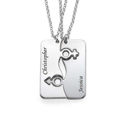 Engraved His and Hers Necklace for Couples - 1