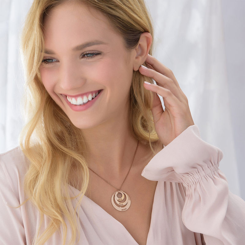 Jewellery for Moms - Three Disc Necklace with Rose Gold Plating - 4