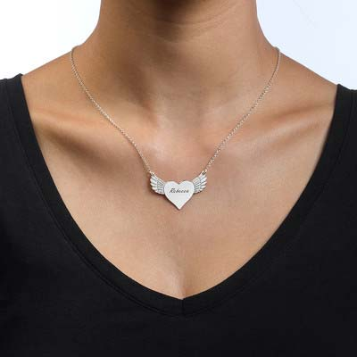 Engraved Flying Heart Necklace - 1