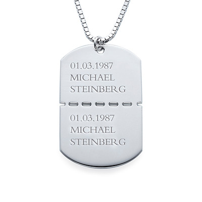 Personalized Sterling Silver Dog Tag Necklace for Men - 1