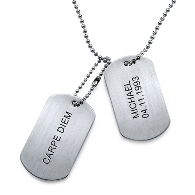 Engraved Dog Tags Necklace in Stainless Steel - 1
