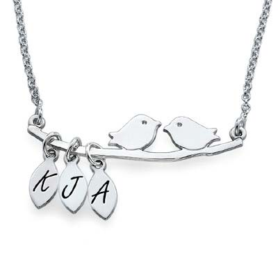 Personalised Mum Jewellery – Silver Bird Necklace with Initials