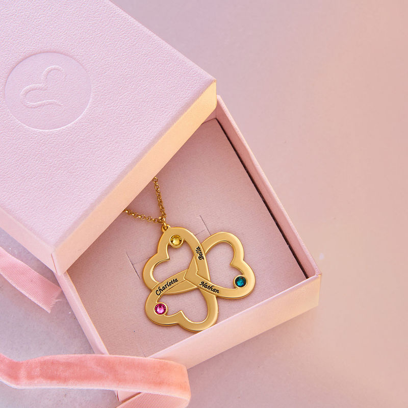 Personalised Triple Heart Necklace in Gold Plating - 4