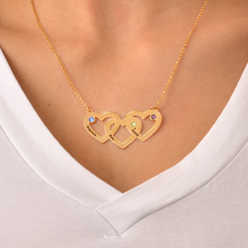 Intertwined Hearts Necklace with Birthstones in Gold Plating - 3