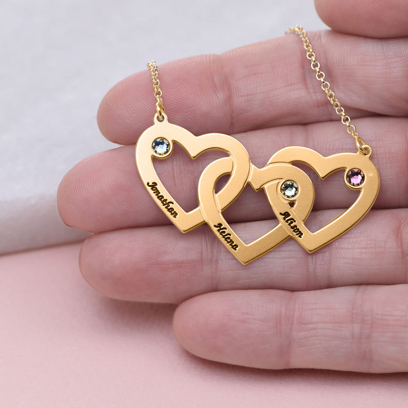 Intertwined Hearts Necklace with Birthstones in Gold Plating - 4