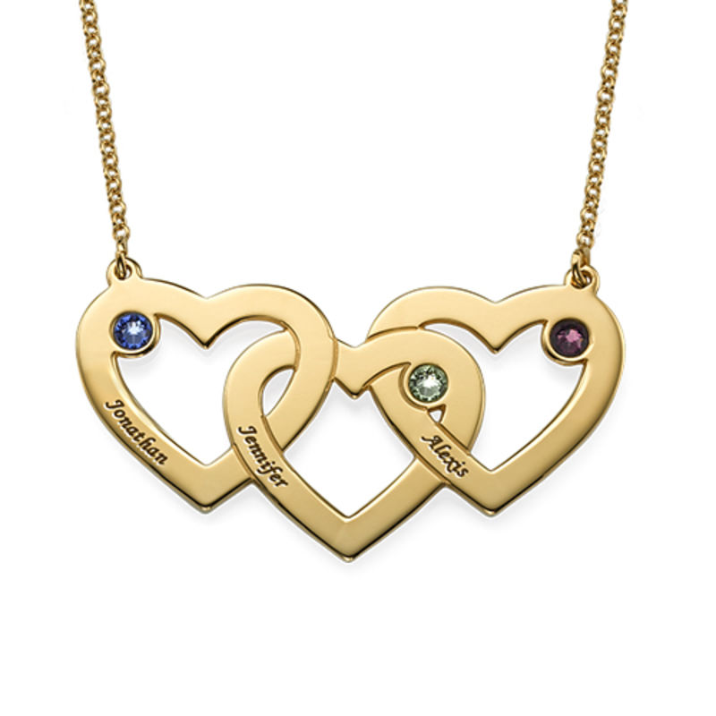 Intertwined Hearts Necklace with Birthstones in 18ct Gold Vermeil