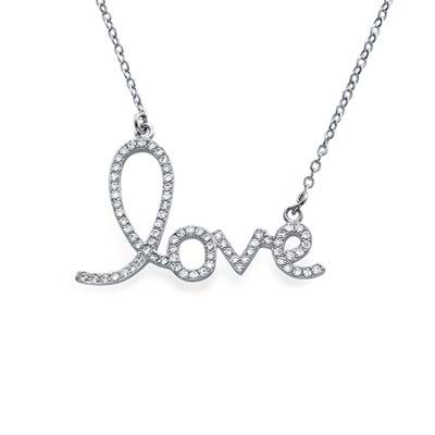 Cubic Zirconia LOVE Pendant Necklace