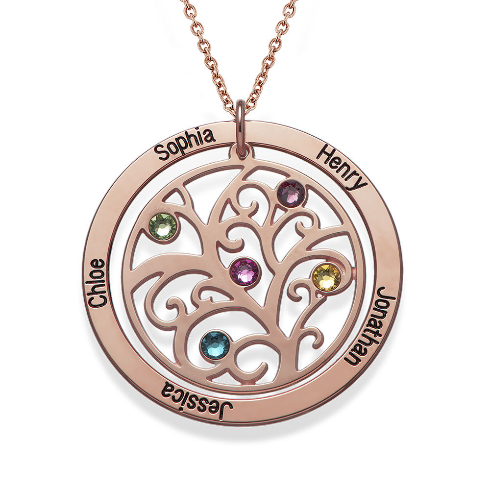 Family Tree Birthstone Necklace with Rose Gold Plating - 1