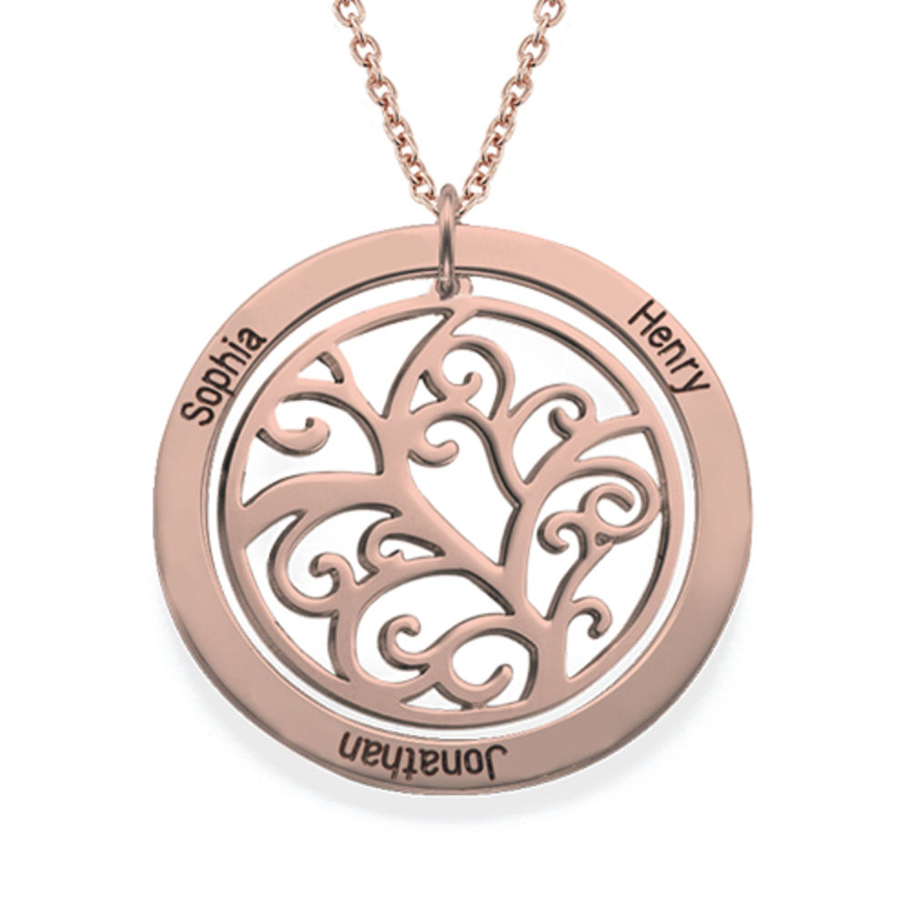 Family Tree Birthstone Necklace with Rose Gold Plating - 2