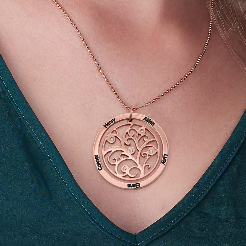 Family Tree Birthstone Necklace Rose Gold Plated  with Diamonds - 2