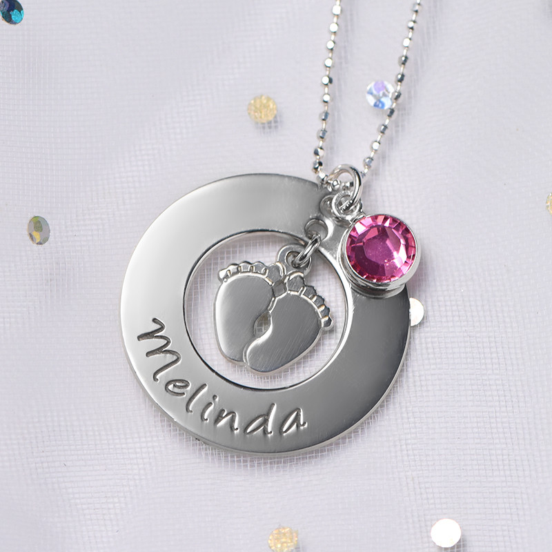 New Mum Necklace with Baby Feet - 4