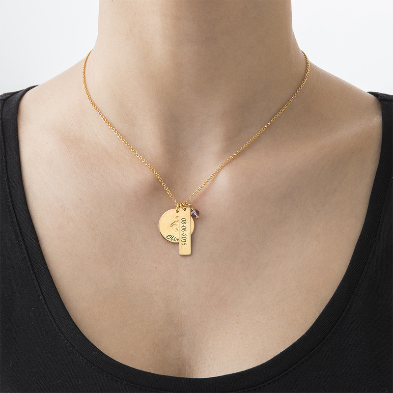 New Mum Jewellery - Baby Feet Charm Necklace with Gold Plating - 2