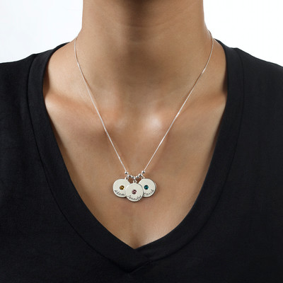 Mother's Disc and Birthstone Necklace - 1