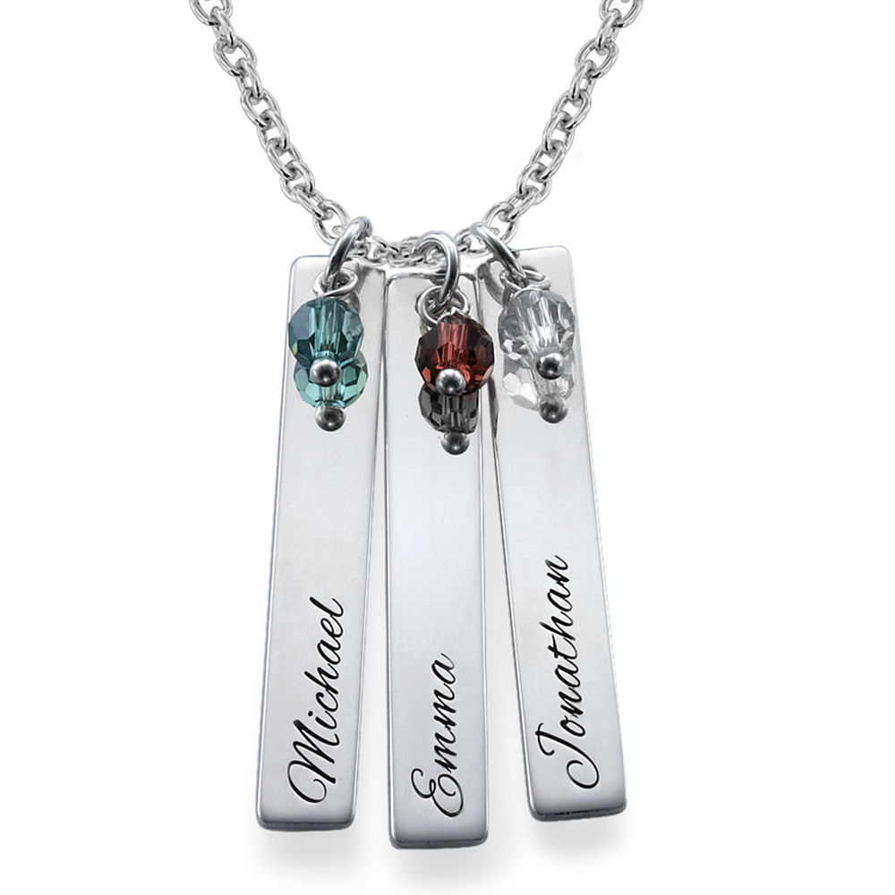 Engraved Bar Necklace with Birthstones