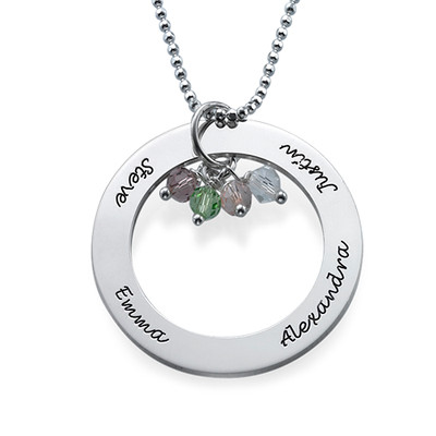 Necklace with Hanging Birthstones - 1