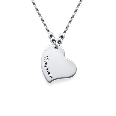 Engraved Heart Charm Necklace - 1