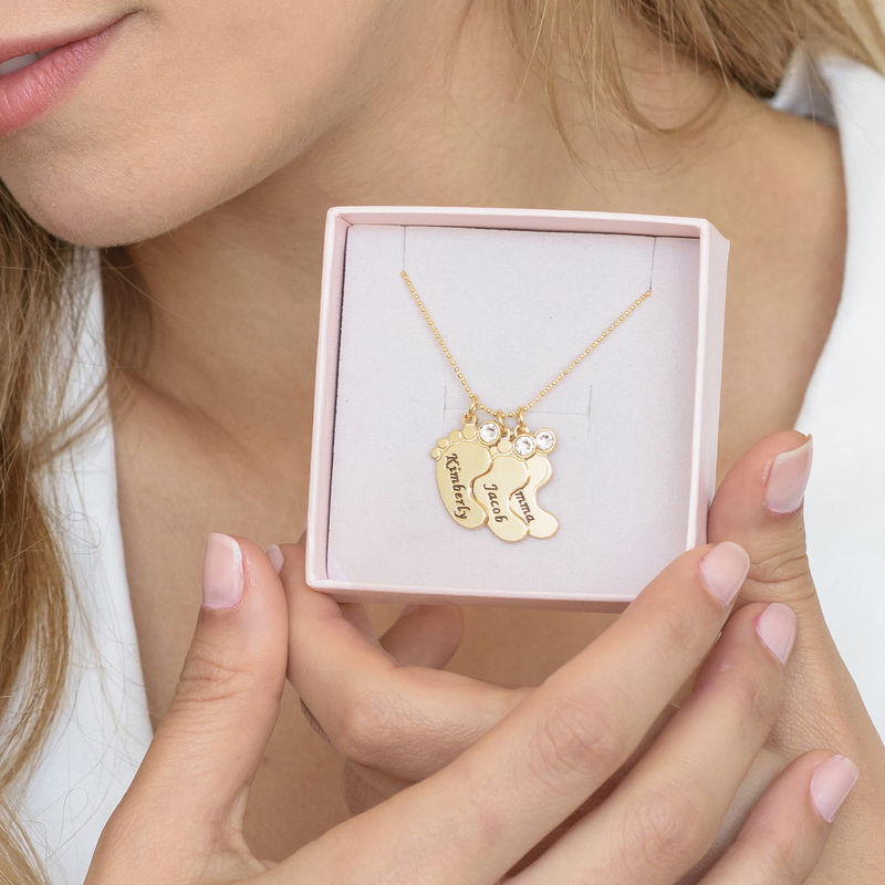 Mum Jewellery - Baby Feet Necklace In 10ct Yellow Gold - 1 - 2 - 3 - 4 - 5 - 6
