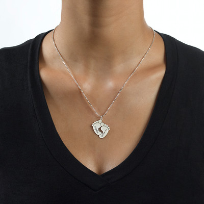 Engraved Baby Feet Necklace in Sterling Silver - 1