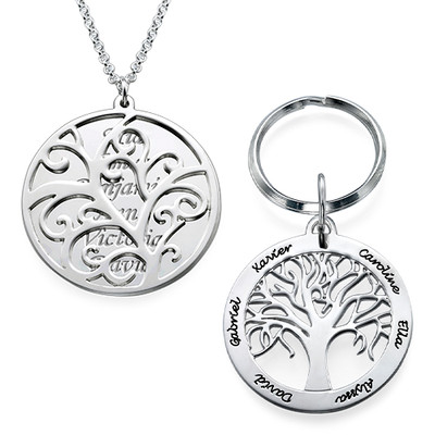 Family Tree Keyring & Necklace Set