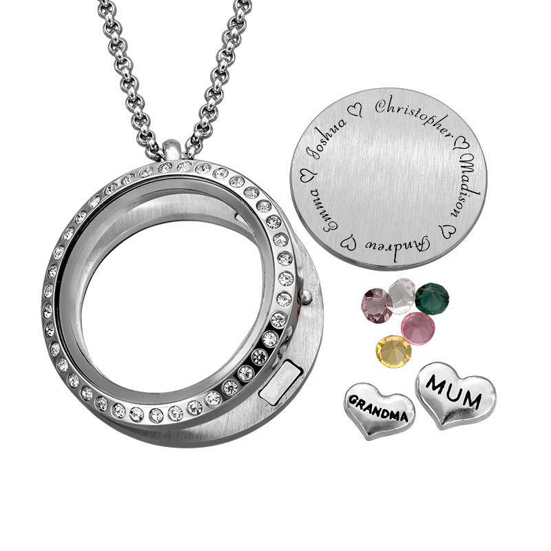 "Engraved Floating Charms Locket with Birthstones - ""For Mum"" - 1"