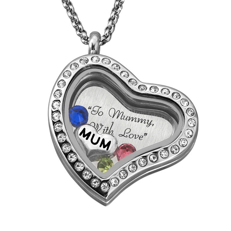 "Engraved Floating Charms Locket with Birthstones - ""For Mum"" - 2"