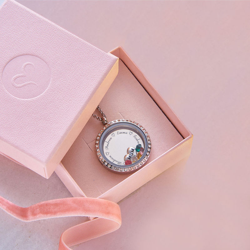 "Engraved Floating Charms Locket with Birthstones - ""For Mum"" - 8"