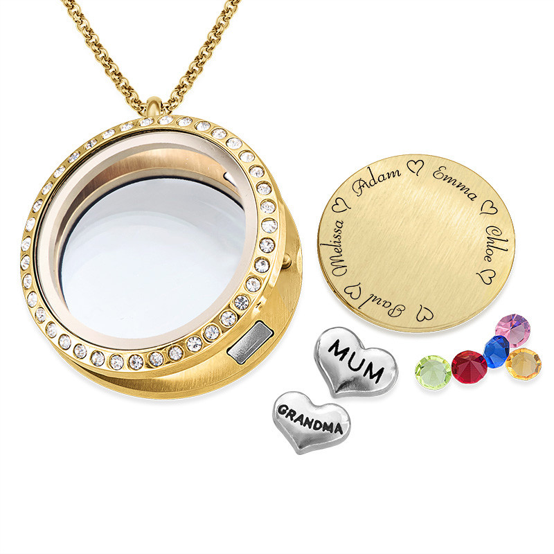 "Engraved Floating Charms Locket - ""For Mum"" with Gold Plating - 1"